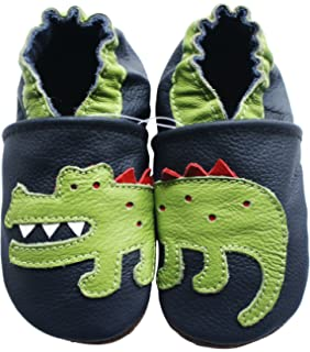 carozoo strawberry green 3-4y soft sole leather baby shoes