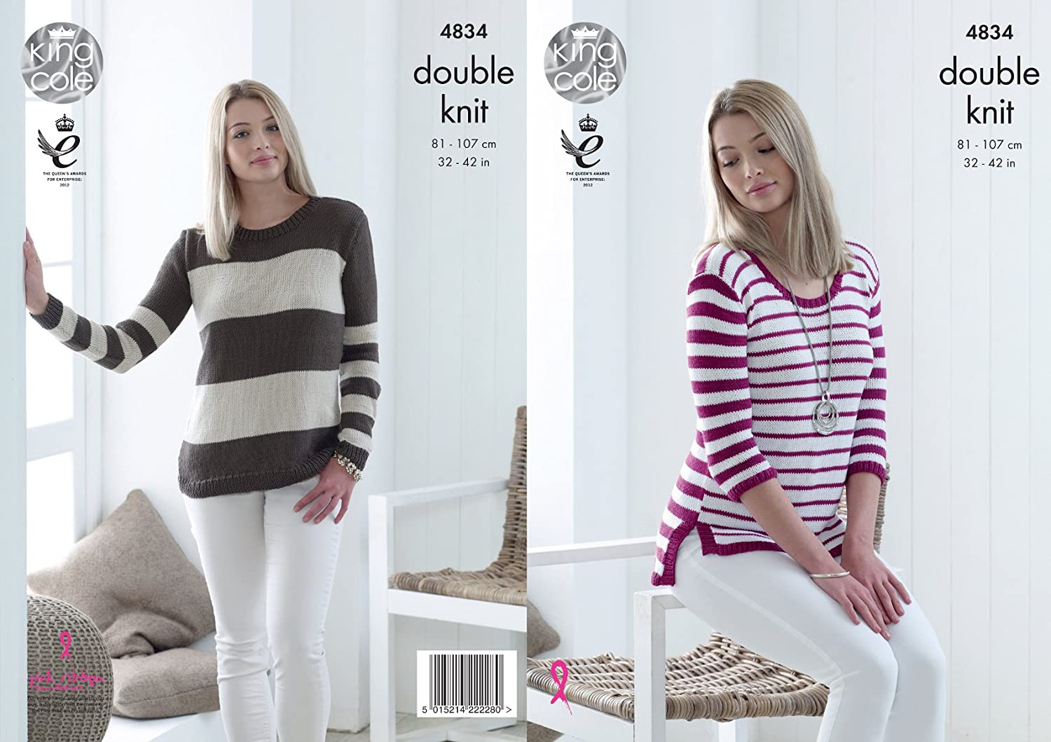 King Cole Ladies Double Knitting Pattern Jumpers Sweaters with Fine or Broad Stripes (4834)