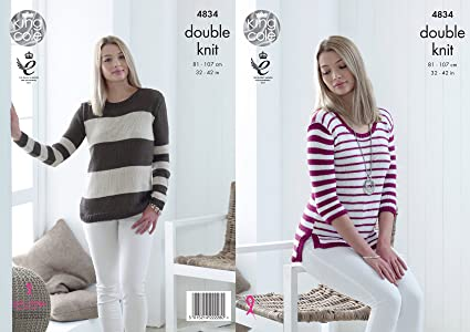 e71a78bf01f2 King Cole 4834 Knitting Pattern Womens Striped Sweaters in King Cole ...