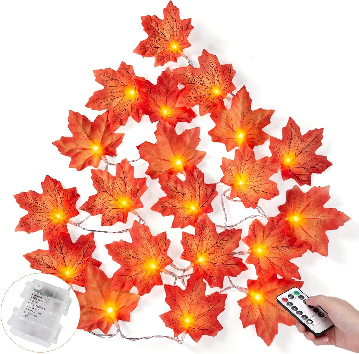 Halloween Decorations Lights , Fall Maple Leaves Garland String Fairy Lights with Remote for Autumn Decor Thanksgiving Day Christmas Weddings Parties Decor (8 Blinking Modes/20LED with Remote)