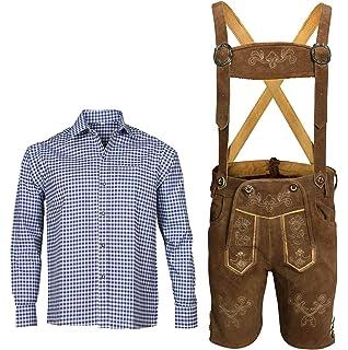 Herren Trachten Set Lederhose mit Trägern + Trachten Hemd