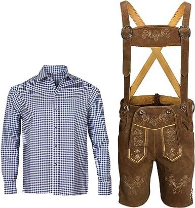 Conjunto de pantalones de piel para hombre con tirantes + ...