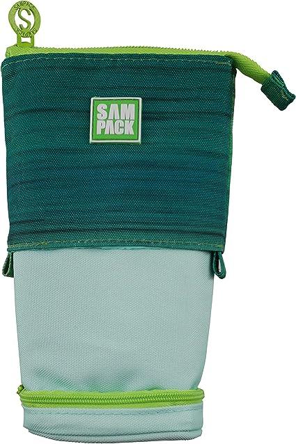 Estuche Escolar Verde&Verde Claro Sampack 2 Cremalleras 2 Bolsillos Transformable 12 x 6 x 20 cm: Amazon.es: Oficina y papelería