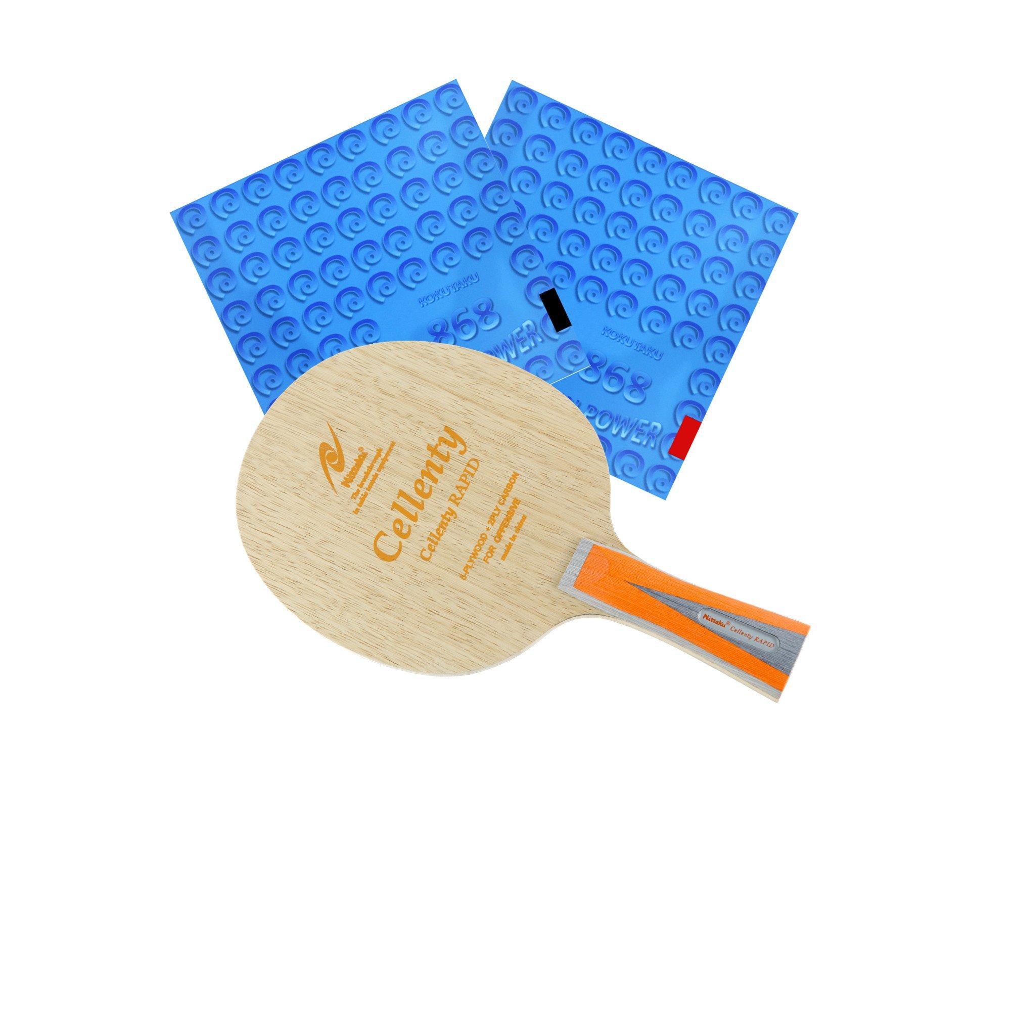 Nittaku Cellenty Rapid Carbon FL + 868 Spinpower Table Tennis Racket