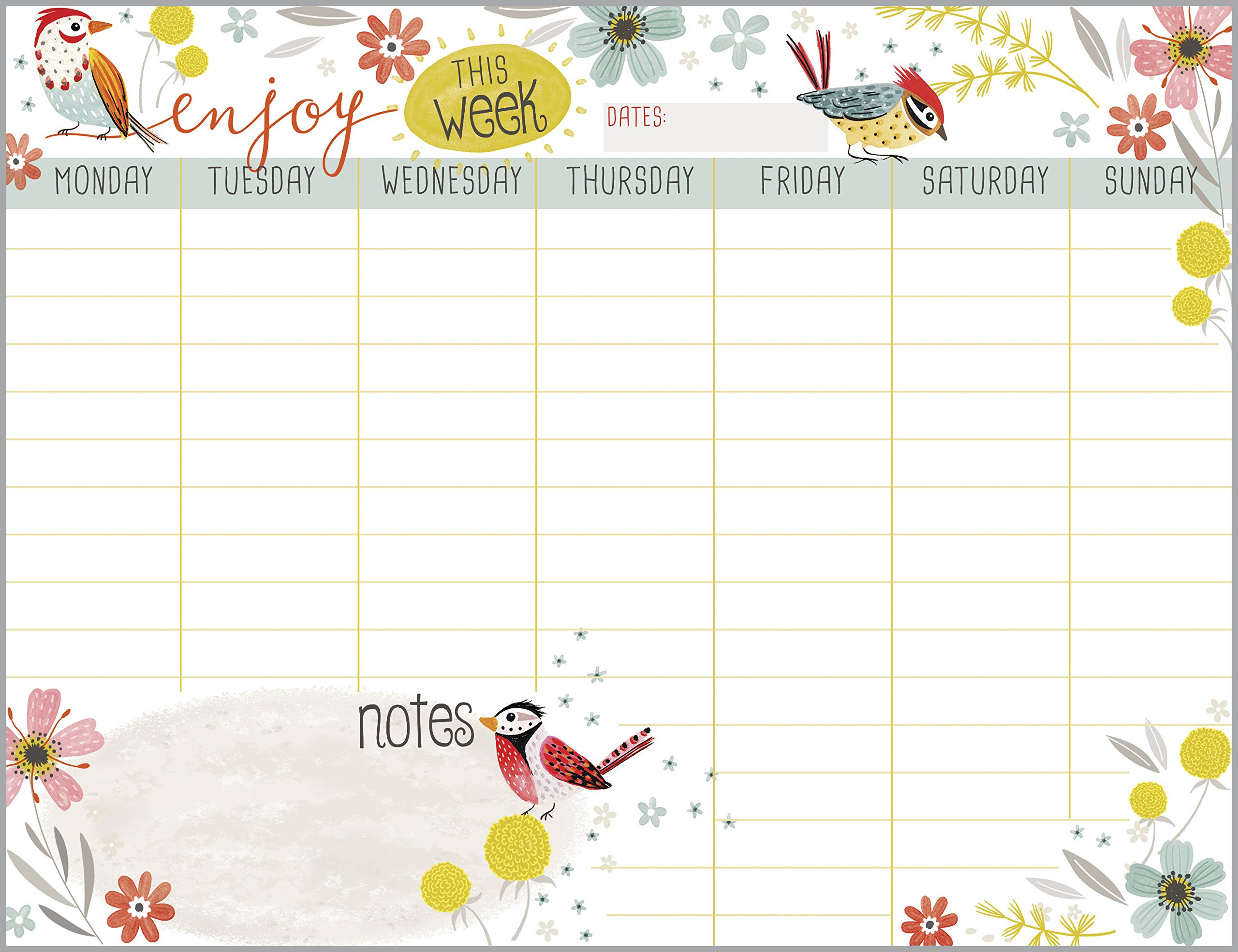 Bird and Flower Wreath Weekly Calendar Pad with Attachable Magnet