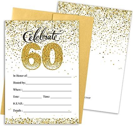 Amazon.com: Invitaciones para fiesta de 60 cumpleaños, color ...