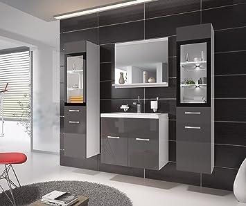 Badezimmer Badmöbel Rio XL LED 60 Cm Waschbecken Hochglanz Grau Fronten    Unterschrank 2x Hochschrank Waschtisch
