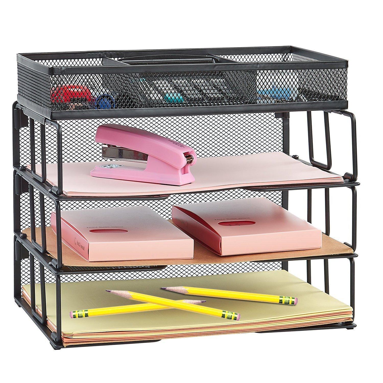 Rackarster Mesh Desktop Office Organizer 3-Tier Stackable Desk Paper Organizer Letter Tray with File Organizer Sorter 3 Compartment, Black