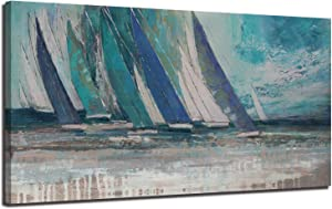 "Canvas Wall Art Abstract Blue Ocean Sailboat Picture Modern Coastal Painting, Large Size Prints Framed 60""x30"" One Panel Artwork for Living Room Bedroom Home Office Decor"