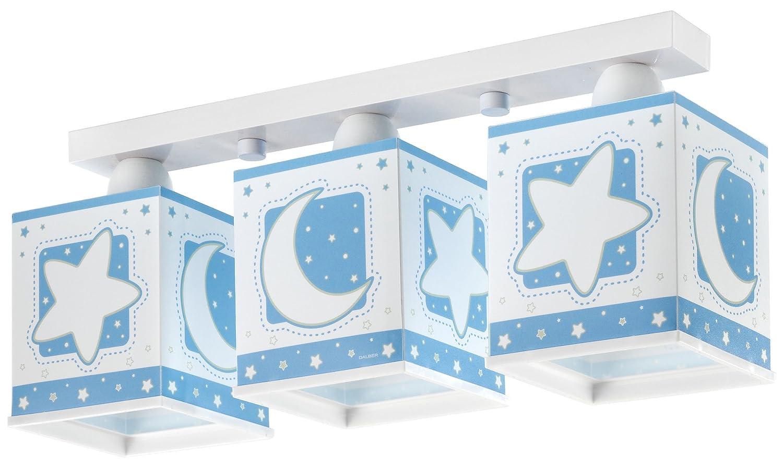 Dalber 63233T Moon and Stars, Lámpara regleta 3 luces Luna y estrellas azul, E27, Clase de eficiencia energética A++ a C