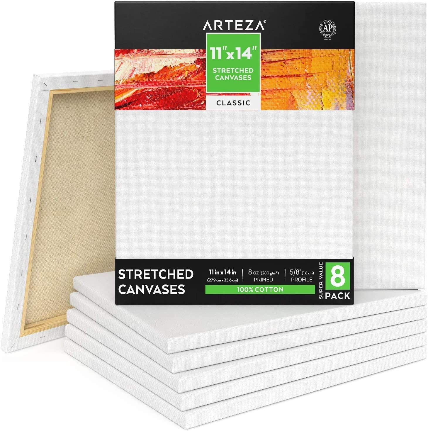 for Acrylic /& Oil Paint Pouring Techniques /& Wet Art Media Acid-Free 100/% Cotton Arteza 11x14 inch Black Stretched Canvas for Painting Pack of 8 Primed