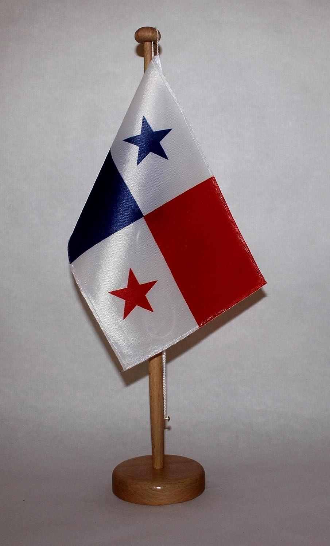 Panama Tischflagge 15x25 cm in Profiqualit/ät wahlweise mit oder ohne 42 cm Massivholz Tischst/änder