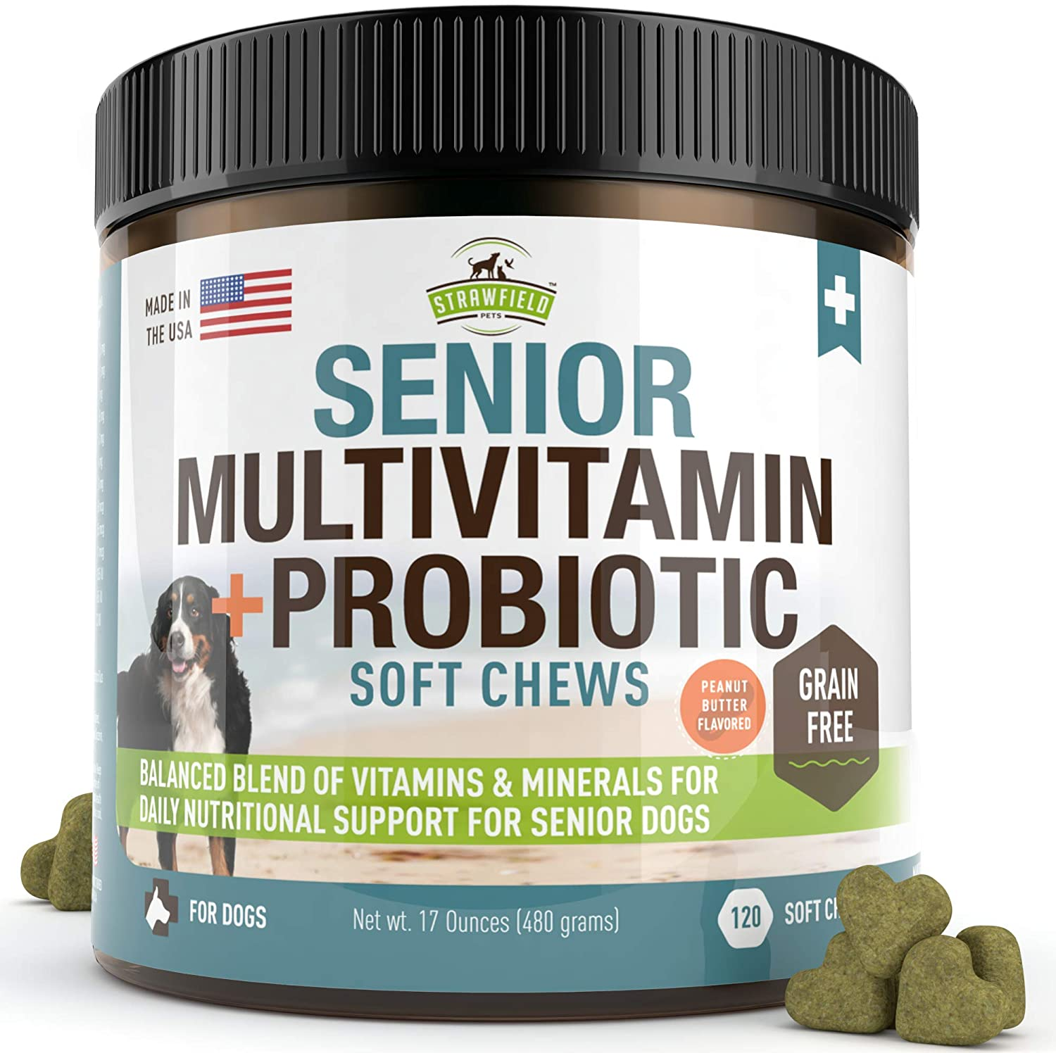 Strawfield Pets Senior Multivitamin Probiotic