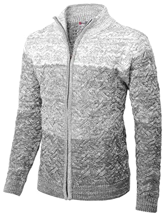 H2h Mens Casual Knitted Cardigan Zip Up With Twisted Pattern At