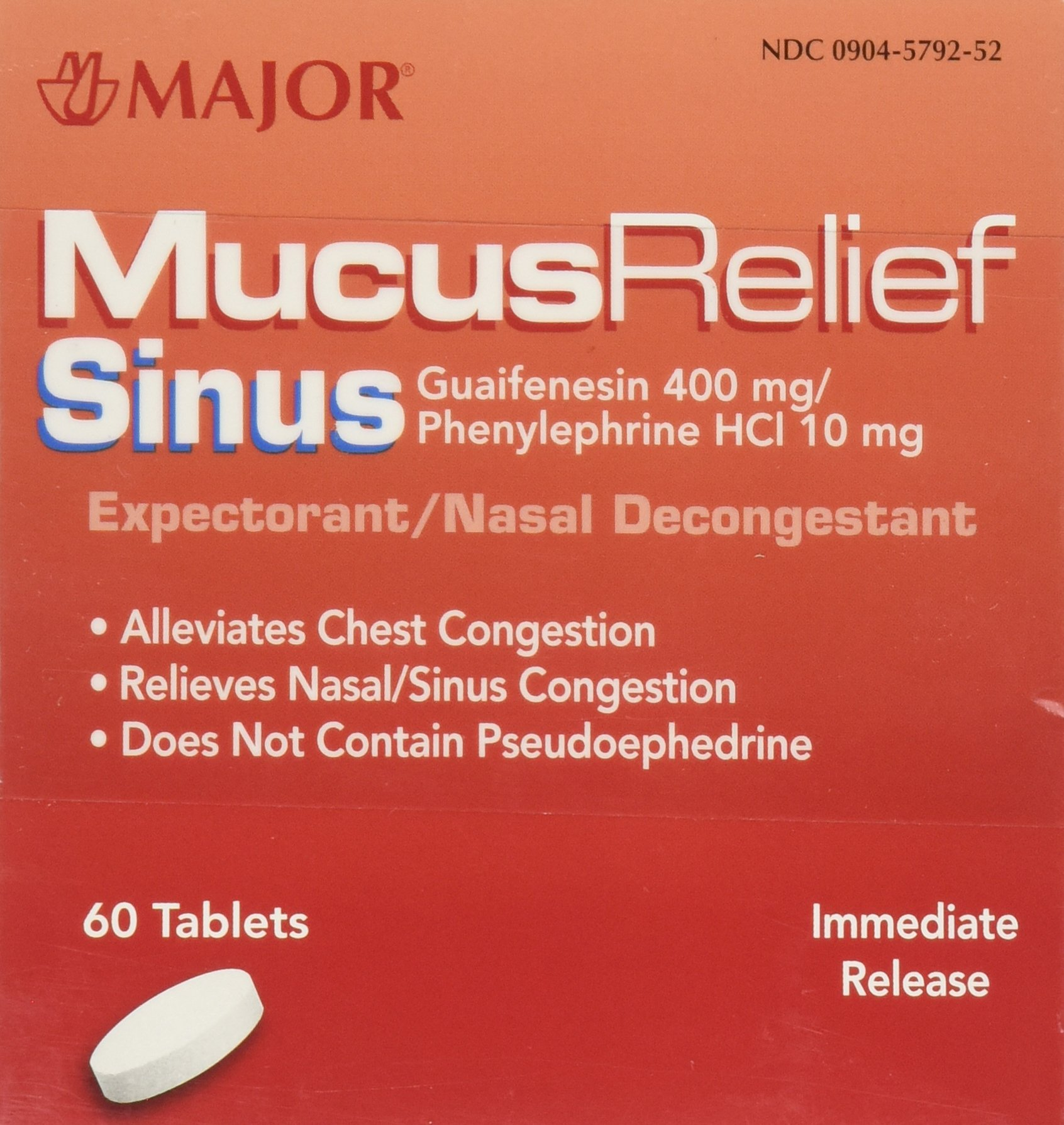 [2 Pack of 60] Mucus Relief PE Generic for Mucinex Sinus Congestion IR Tablets 60 Count by Mucinex