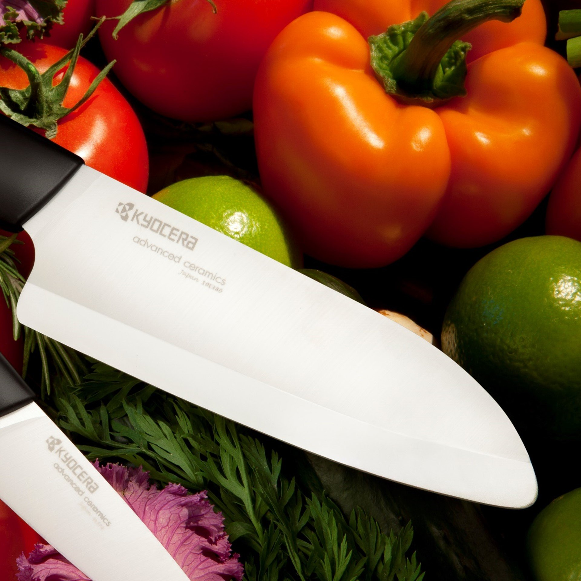 Kyocera Advanced Ceramic Revolution Series 5-1/2-inch Santoku Knife and Y Peeler Set, Black