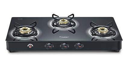 Prestige Royale Plus Schott 3 Burner Gas Stove, Black (Auto Ignition)