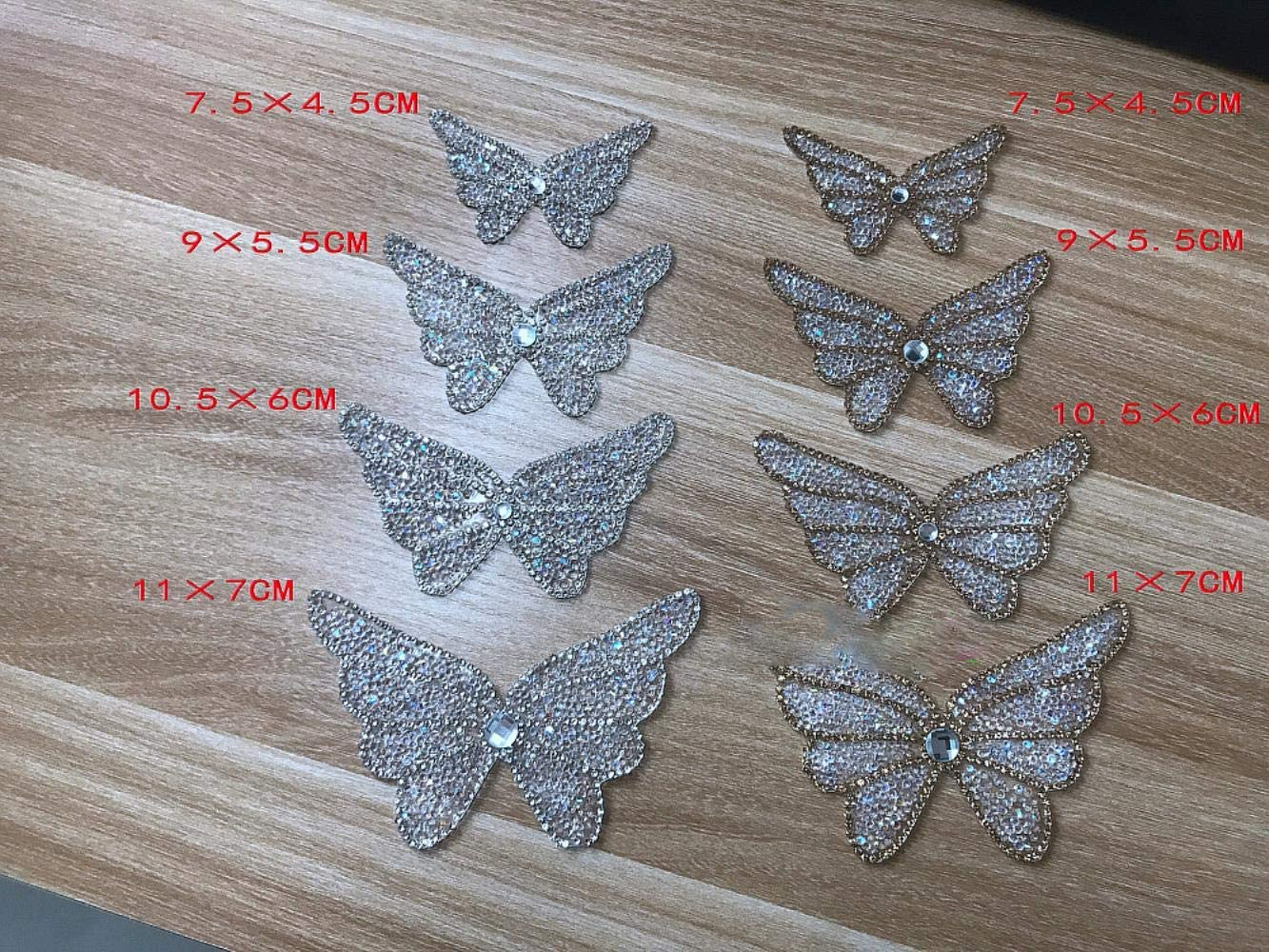 1 parche de mariposa con cristales plateados y dorados para planchar ropa de bebé recién nacido, parches de ropa para mujer, dorado, 7.5 X 4.5 CM