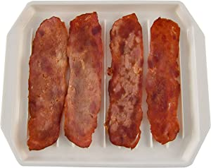 HOME-X Microwaveable Bacon Tray, Bacon Serving Dish