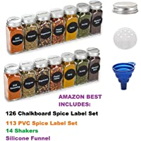 Premium Vials, 6oz, Best Value 14 Glass Spice Jars Includes pre-Printed Spice Labels. 14 Square Empty Jars, Airtight Cap, Chalkboard & Clear Label, Kitchen Funnel Pour/Sift Shakers