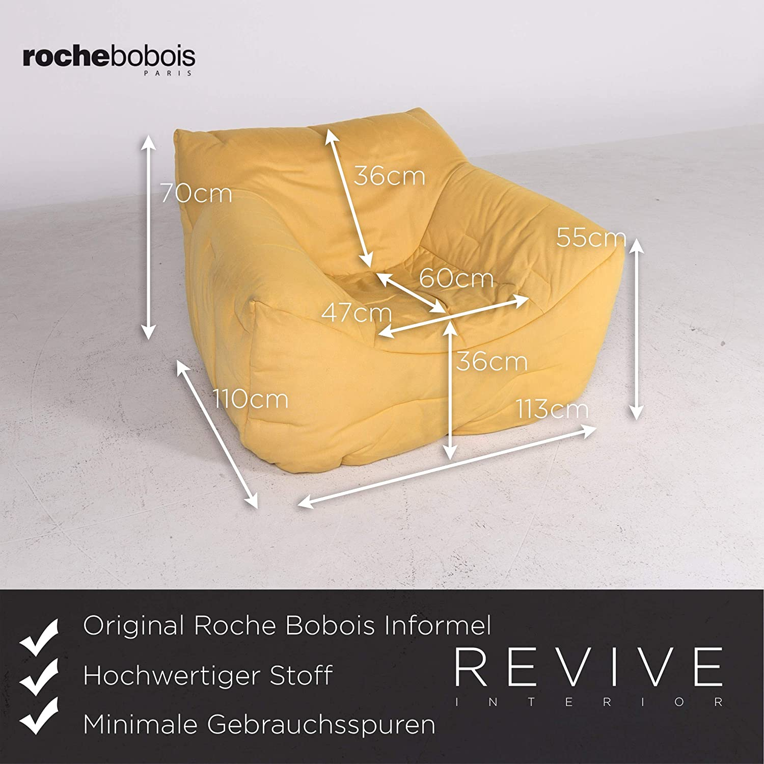 Roche Bobois Informel Designer Fabric Armchair Yellow by ...