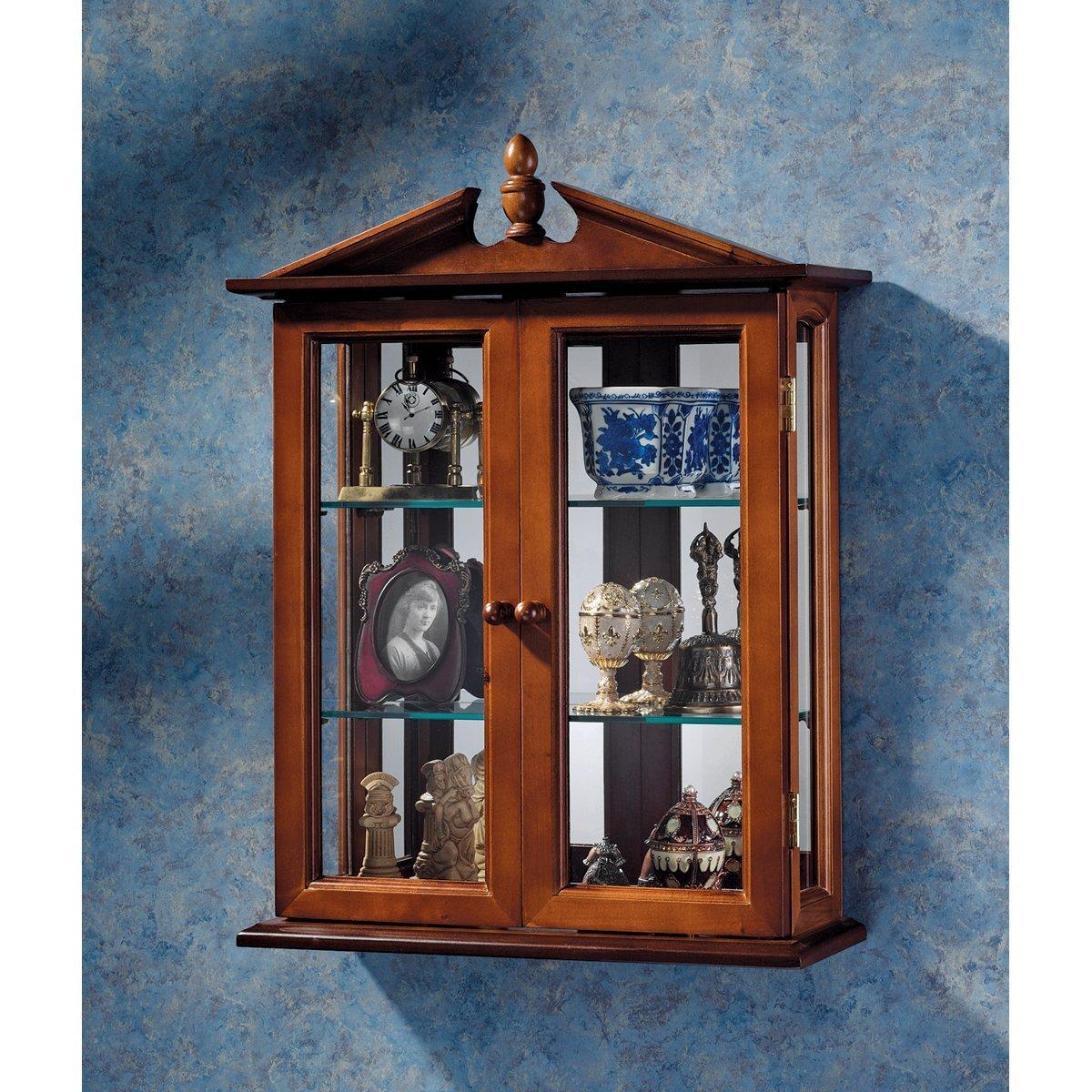 Design Toscano Residenza Amesbury Vetrinetta da esposizione in vetro con montaggio a parete, legno massello, finitura color mogano, 56 cm BN1722
