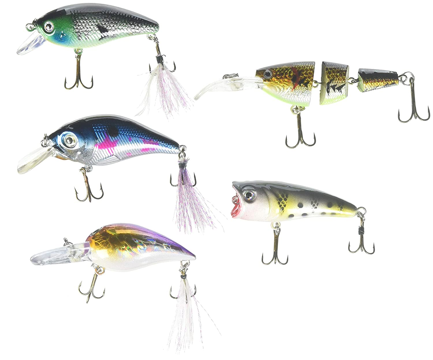 Akuna Lot of 5 Mixed Shallow Diving Fishing Lures for Bass & Trout