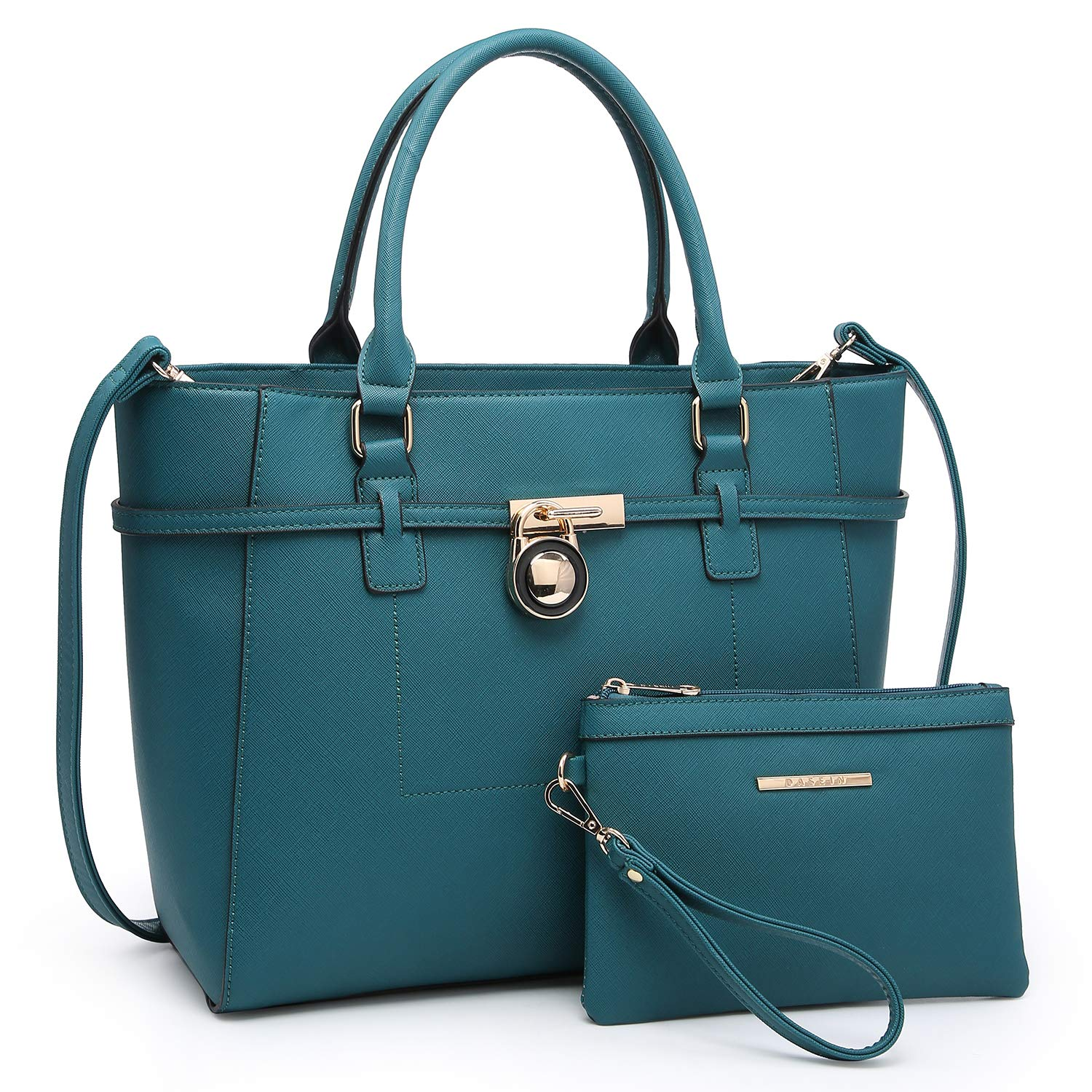 Handbags for Women Tote Bag Shoulder Bag Top Handle Satchel Hobo Purse 2pcs w/Padlock (Teal Blue)