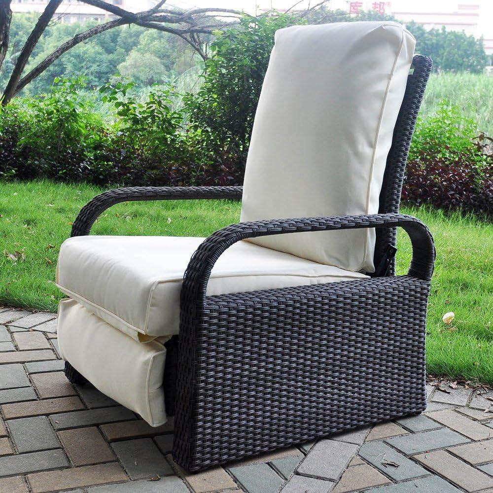 Arttoreal ATR - Sillón reclinable de mimbre con cojines, mueble para exterior, resistente a la intemperie: Amazon.es: Jardín