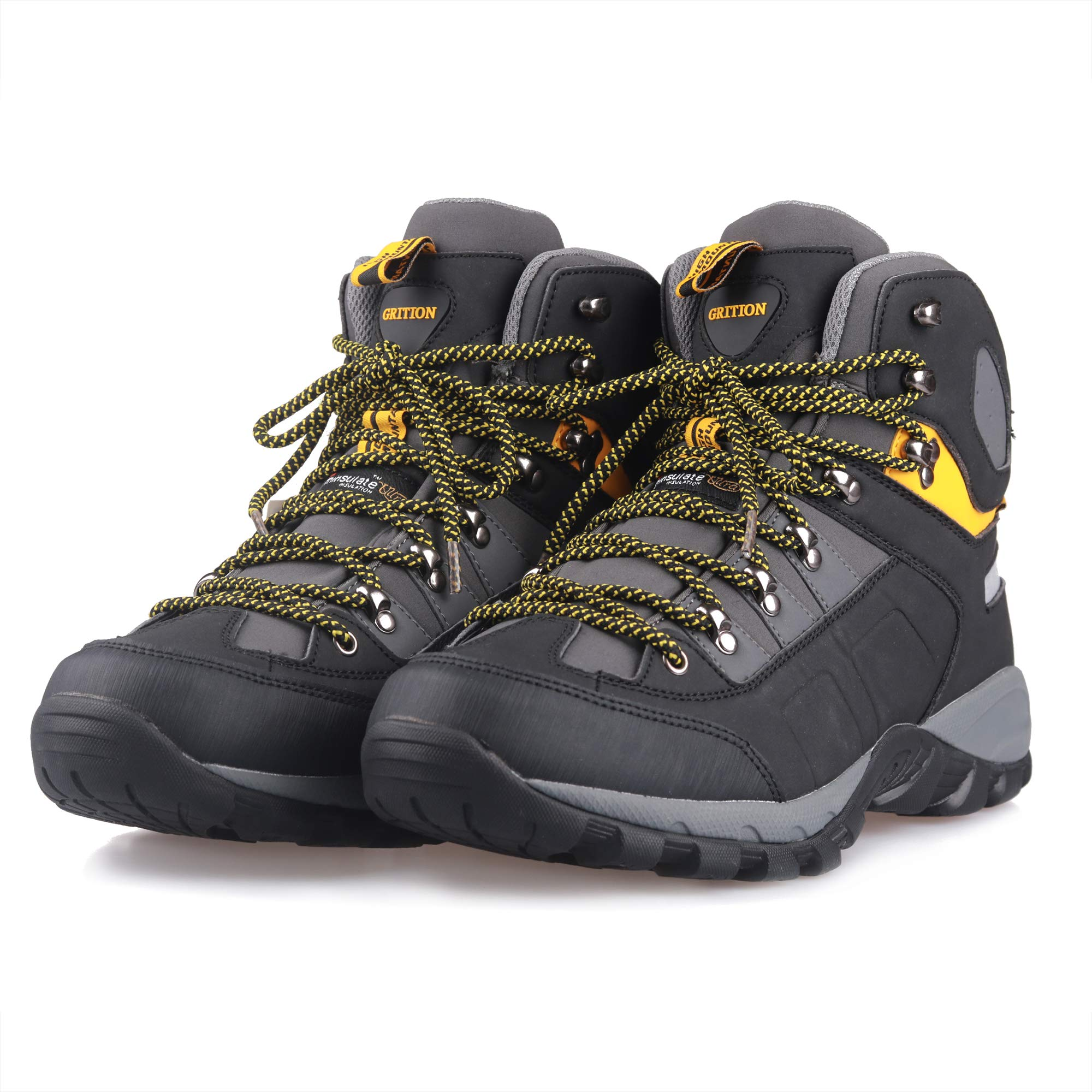 GRITION Men Hiking Boots Waterproof High Top Walking Non Slip Soft Shell Trekking Shoes Black/Yellow by GRITION (Image #7)