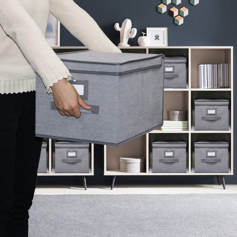 Gris-Lin 7XDLB03PLP homyfort Lot de 3 Bo/îtes//Tiroirs en Tissu Housse Cube de Rangement Pliable avec Couvercle et poign/ée en Cuir 30 x 40 x 25 cm