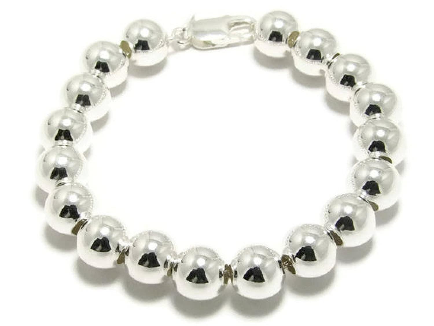 10mm Silver Ball Bracelet 925 Sterling silver ball bead bracelet 10mm silver beaded bracelet big silver ball beads bracelet Sterling Bead