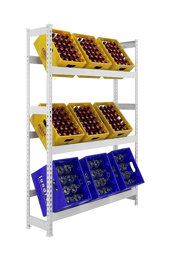 Getr/änkekistenregal 1000 x 1010 x 300 mm 100 kg Tragkraft//Ebene 2 Ebenen WEISS