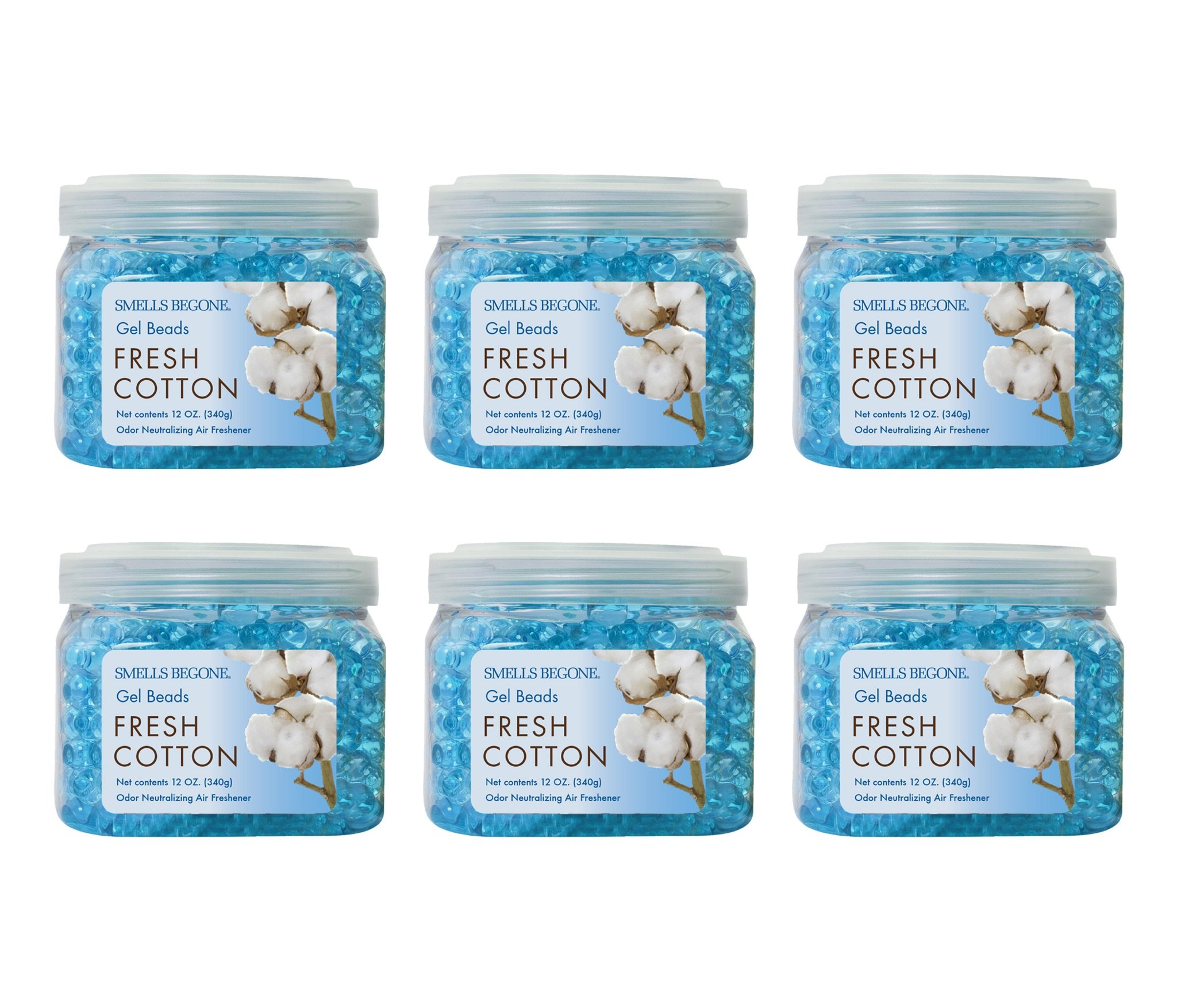Smells Begone Odor Eliminator Gel Beads - Air Freshener - Eliminates Odors in Bathrooms, Boats, Cars, RVs and Pet Areas - Made with Natural Essential Oils - Fresh Cotton Scent (6 Pack) by Smells Begone (Image #1)