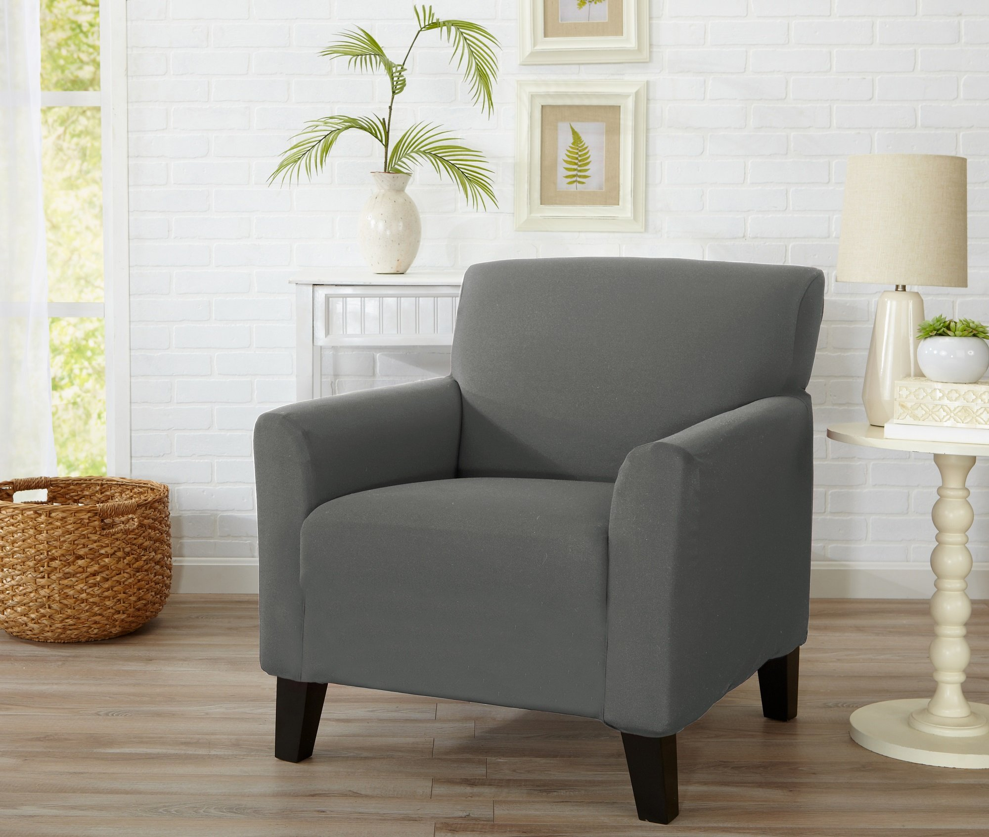 Home Fashion Designs Form Fit, Slip Resistant, Stylish Furniture Cover/Protector Featuring Lightweight Stretch Twill Fabric. Brenna Collection Strapless Slipcover. By (Chair, Charcoal - Solid)