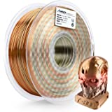AMOLEN PLA 3D Printer Filament, Silk PLA Filament Multicolor 1.75mm, Metal Silk Rainbow 3D Printing Filament 1 kg