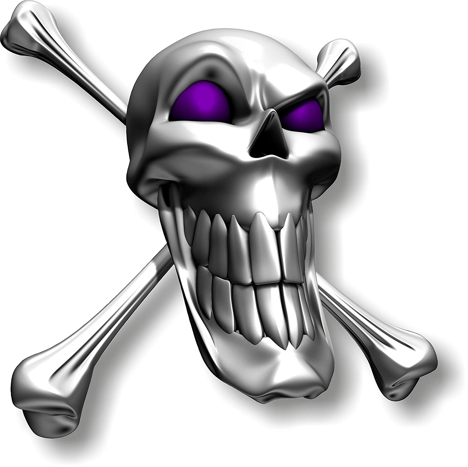 Vinyl sticker/decal Extra large 230mm long smile skull with purple eyes - facing right Graphic Effects