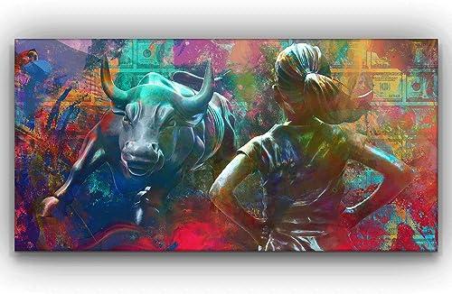 Wall Street Charging Bull Fearless Girl Motivational Wall Art Canvas Print