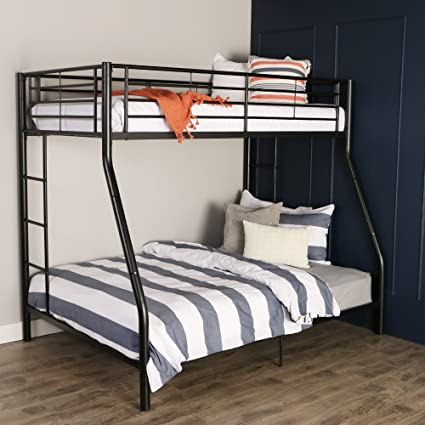 Amazon Com Sturdy Metal Twin Over Double Bunk Bed In Black Finish