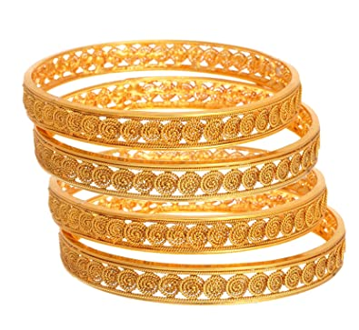 a9e74e92f6da1 YouBella Fashion Jewellery Traditional Gold Plated Copper Bracelet Bangles  Set of 4 For Girls and Women (2.4)  Amazon.in  Jewellery