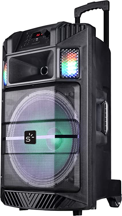 Sunstech MASSIVE-S30BK - Altavoz portátil con Bluetooth y iluminación Disco, Color Negro
