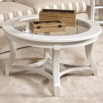 Sensational American Drew Lynn Haven Round Glass Coffee Table In White Machost Co Dining Chair Design Ideas Machostcouk