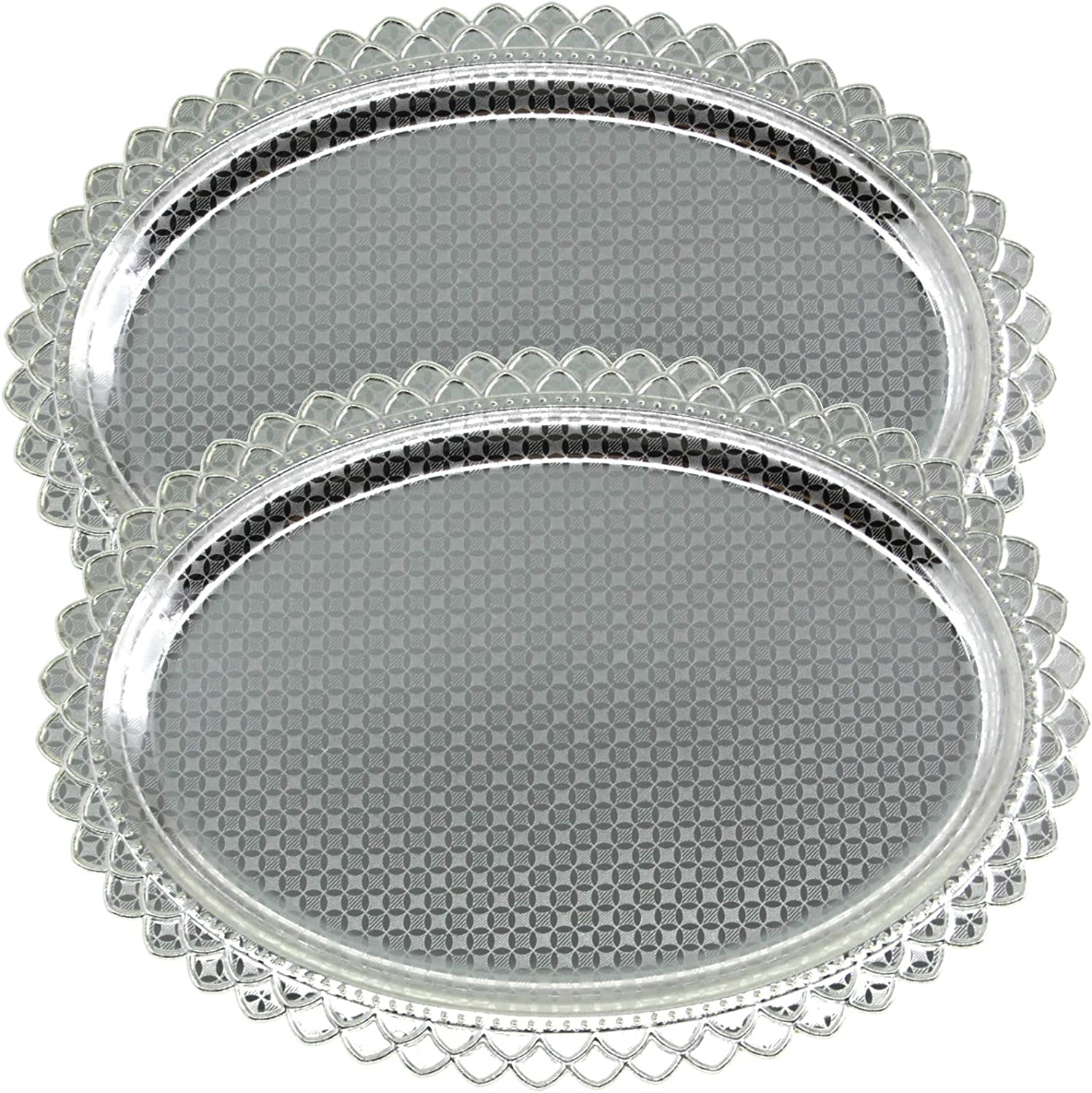 Maro Megastore (Pack of 2 15 Inch x 11 Inch Oblong Chrome Plated Serving Tray Stylish Design Floral Engraved Edge Decorative Party Birthday Wedding Dessert Buffet Wine Platter Plate Dish CC-712