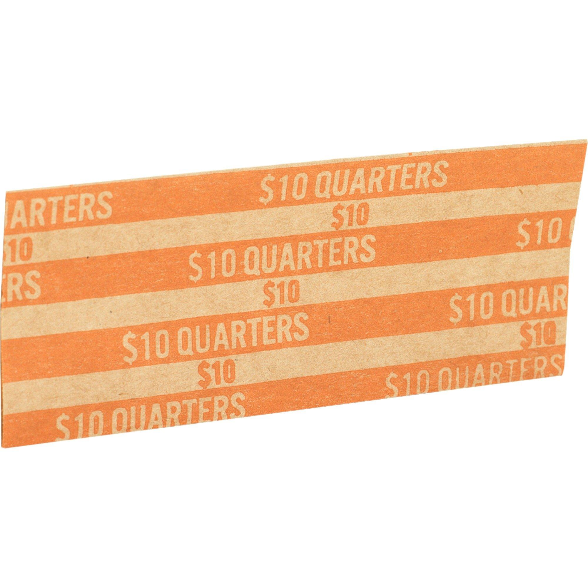 Coin Wrapper, 60 lb., Quarters, 10.00, 1000/Box, Orange