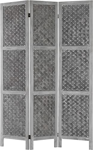 MyGift 3-Panel Distressed Grey Woven Wood-Framed Dual-Hinged Room Divider