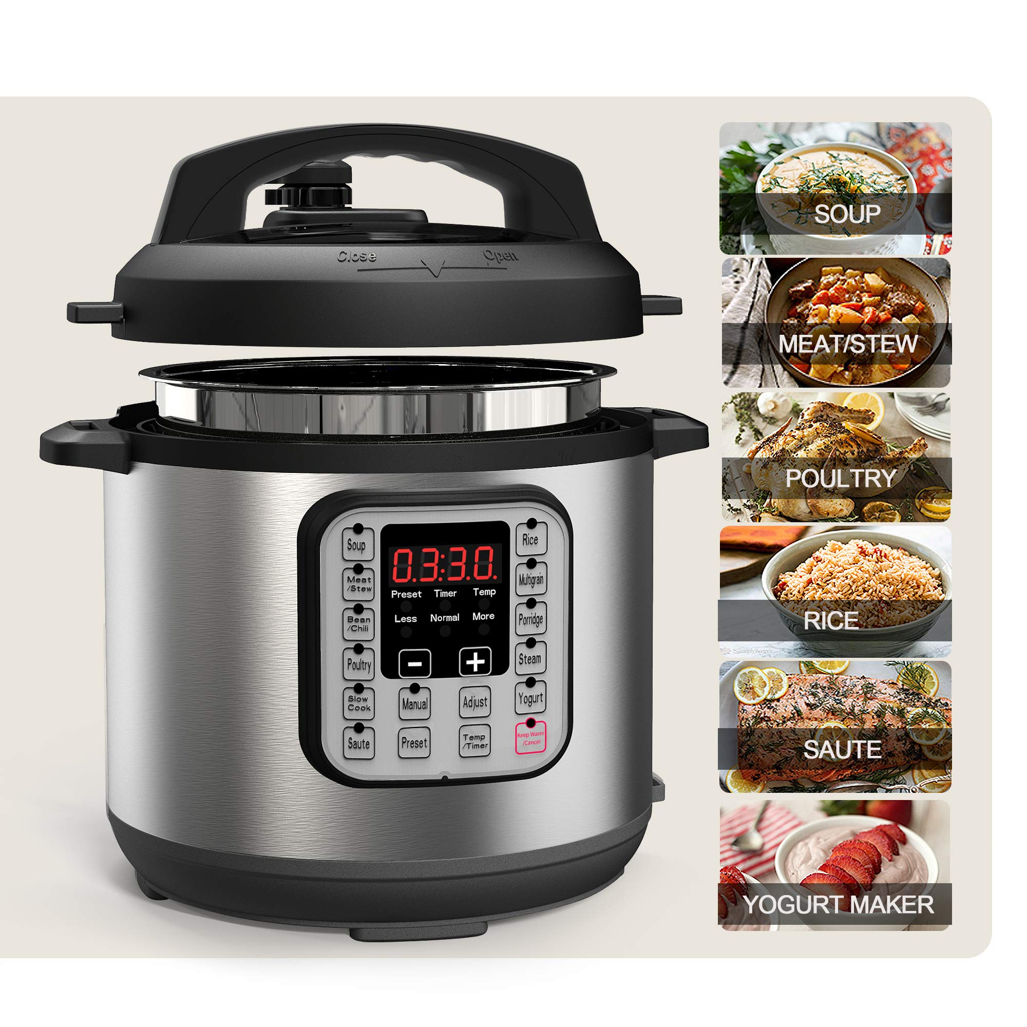 Acare 6 Qt 7-in-1 Programmable Pressure Cooker,6 Quart/6L Stainless Steel Multi-Use Cooker,1000W,Slow Cooker,Rice Cooker,Stew,Steamer,Sauté,Yogurt Maker and Warmer