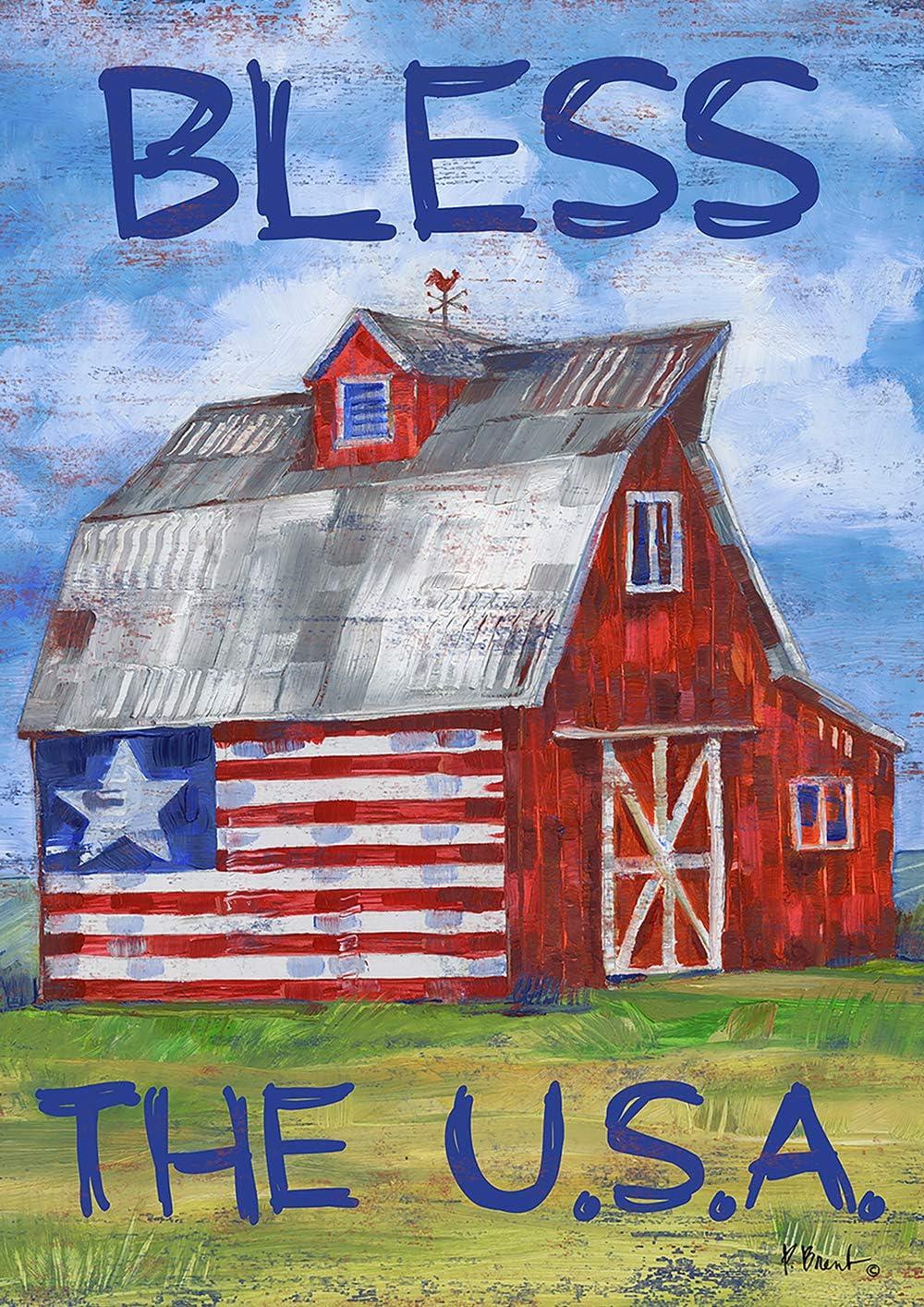 Toland Home Garden 1112209 Americana Barn 12.5 x 18 Inch Decorative, Bless The U.S.A, Garden Flag