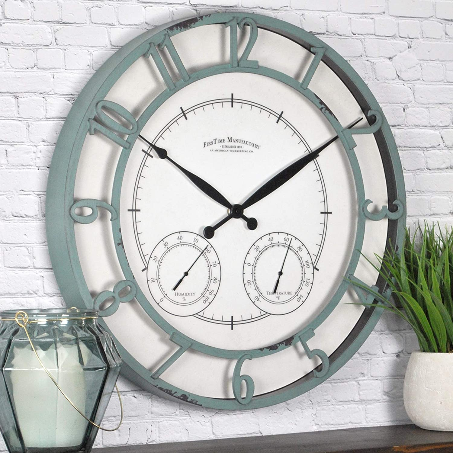 """FirsTime & Co. Laguna Outdoor Wall Clock, 18"""", Aged Teal"""