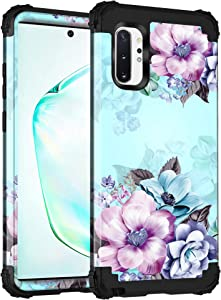 Lontect for Galaxy Note 10 Plus Case Floral 3 in 1 Heavy Duty Hybrid Sturdy High Impact Shockproof Protective Cover Case for Samsung Galaxy Note 10 Plus/Note 10 Plus 5G, Blue Flower