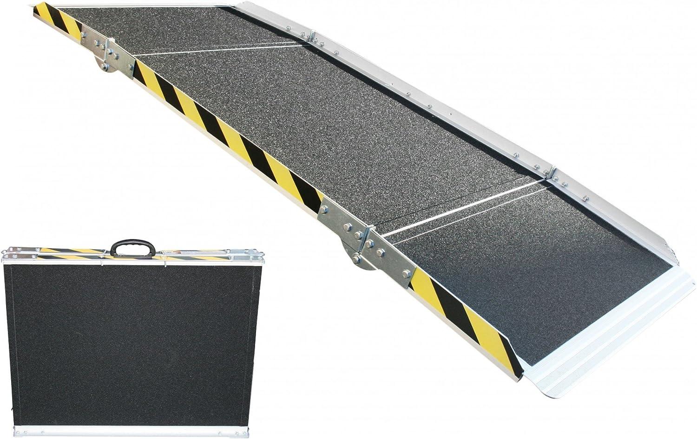 Rampa de aluminio, para silla de ruedas, plegable en 3 niveles, 240cm